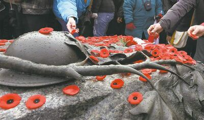 Members of the public place poppies on the Tomb of the Unknown Soldier at the National Remembrance Day ceremony in Ottawa, Sunday.