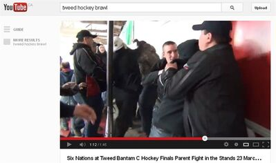 An online video that captured a brawl in the stands of a minor hockey game in the small Ontario community of Tweed has caught the attention of provincial police. The video, posted on YouTube Sunday afternoon by YouTube user Jane Hockeyfan shows adults taunting each other until the crowd erupts in a massive fist fight. THE CANADIAN PRESS/HO-YouTube-Jane Hockeyfan