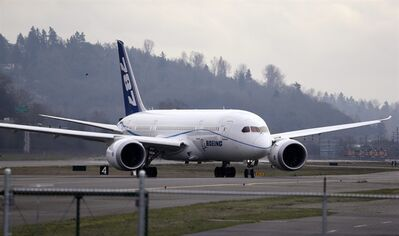FILE - This Feb. 11, 2013 file photo shows a Boeing 787 flight test jet taxing following a test flight, at Boeing Field, in Seattle. Boeing's beleaguered 787 Dreamliners will be able to resume flights under an order expected to be issued Friday by the Federal Aviation Administration, although the root cause of battery failures on two of the planes is still unknown, according to congressional sources briefed by the agency. (AP Photo/Elaine Thompson, File)