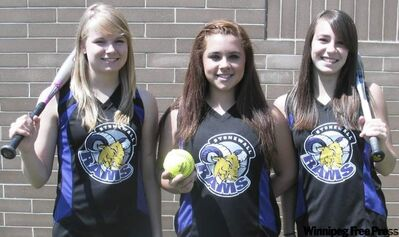 Regan Lawrence, Morgan Dyregrov and Courtney Kwasnitza are members of the Stonewall Rams fastpitch team that hopes to repeat as provincial champions this weekend.