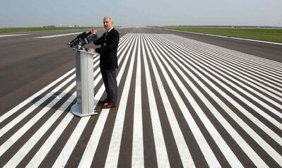 Winnipeg Airports Authority CEO Barry Rempel shows off the newly refurbished Runway 18/36 at Richardson International Airport Thursday.