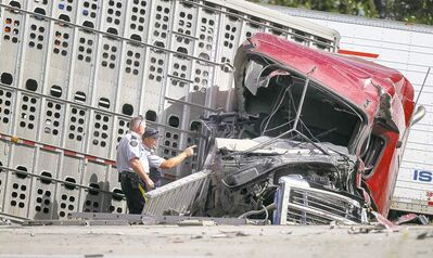 RCMP investigators inspect the aftermath of a collision between two tractor-trailers along the Trans-Canada Highway Thursday. One semi driver was critically injured.