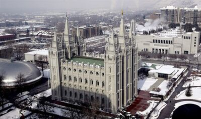 "This Jan. 22, 2013, file photo shows the Salt Lake Temple, at Temple Square, in Salt Lake City. The Church of Jesus Christ of Latter-day Saints hopes patrons who see the runaway hit stage musical ""The Book of Mormon"" when it lands in Toronto next month will also check out the scripture that inspired it. THE CANADIAN PRESS/ AP - Rick Bowmer"