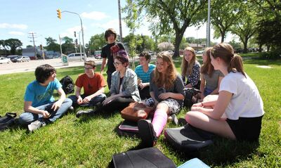 Former Windsor School students gather together on the front lawn in early June during the final days of their first year in high school at Glenlawn Collegiate.  From left: Thomas, Noah, Garrett, Shelby, Quinn, Mackenzie, Hailey, Aby and Sydney.