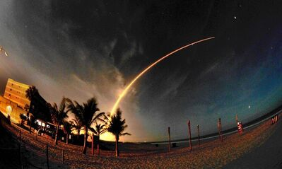A two minute and eighteen second time exposure of the Altas V launch from the end of Minutemen Causeway in Cocoa Beach, Florida. A 19-story United Launch Alliance Atlas V rocket carrying twin NASA satellites lifted off from Launch Complex 41 at Cape Canaveral Air Force Station early Thursday monring Aug. 30, 2012. (AP Photo/Malcolm Denemark, Florida Today)