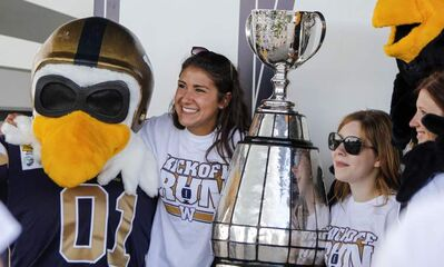 The Grey Cup, accompanied by Bomber mascot Buzz, visited Selkirk on Wednesday.