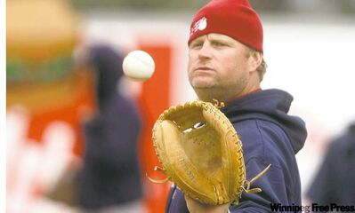 TREVOR HAGAN / WINNIPEG FREE PRESSGoldeyes manager Rick Forney isn�t planning on being pressed into duty at backstop � he was just playing catch Wednesday at Shaw Park.