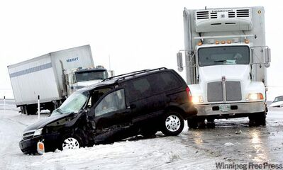 Some of the hundreds of crashes on Feb. 9, 2009, when unseasonably warm weather caused roads to become ice-covered skating rinks for vehicles.