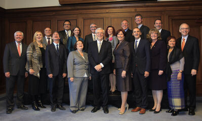 Manitoba Premier Greg Selinger and his new cabinet.