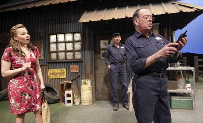 From left: Tracy Penner as Cassandra, Douglas Hughes as Nick and Rod Beattie as Ed in the RMTC production of Ed's Garage by Dan Needles.