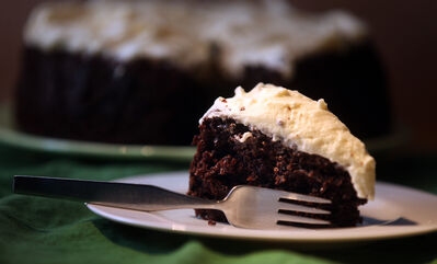 A chocolate Guinness Cake is moist and dense and will probably fall just a bit in the middle.