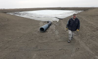 Carl Classen's on-farm reservoir holds back drainage and keeps nutrient-rich runoff from ultimately flowing into Lake Winnipeg.