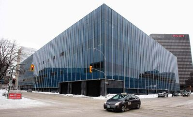 The Southwest corner of the newly renovated PSB building sits at Smith Street and St. Mary Avenue, formerly the Canada Post offices and now the Headquarters for the Winnipeg Police Service.