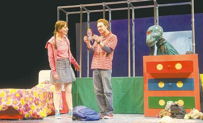 Heather Russell and Tristan Carlucci as siblings Tara and Victor, with Alissa Watson as the monster in Night Light.