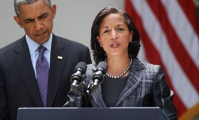 Newly appointed national security adviser Susan Rice speaks as President Obama looks on during a event in the Rose Garden at the White House Wednesday in Washington, D.C.