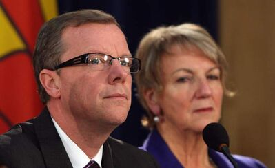 Saskatchewan's Brad Wall, left, with Newfoundland and Labrador's Kathy Dunderdale. Wall rose to power leading a new right-wing party in Saskatchewan.
