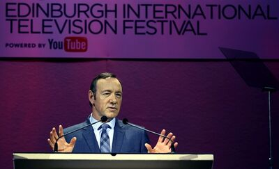 Double-Oscar winner Kevin Spacey at a rehearsal before delivering the keynote speech to the James MacTaggart Memorial Lecture at the Edinburgh television festival on Thursday Aug. 22, 2013. Spacey says television has overtaken cinema as the home of quality character-driven drama, but the industry risks failure if it doesn't recognize that viewers want control over what they watch, and when. (AP Photo/ David Cheskin/PA) UNITED KINGDOM OUT NO SALES NO ARCHIVE