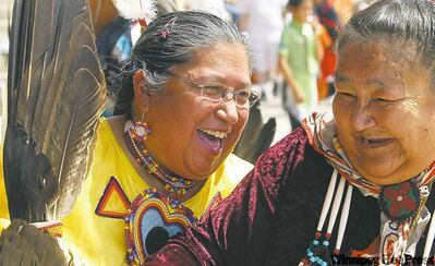 National Aboriginal Day celebrations in Winnipeg. Barbara Nepinak, left,  with friend Jane Wood.