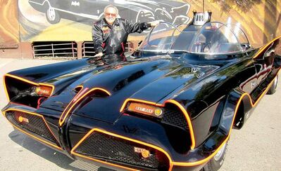 Famed auto customizer George Barris poses with the original Batmobile in Los Angeles. Batman's original ride, from the 1960s TV series, will be auctioned next month at the Barrett-Jackson auction house in Scottsdale, Ariz.