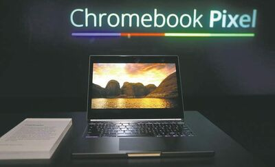 Jeff Chiu / The Associated PressThe Google Chromebook Pixel laptop was unveiled in San Francisco Thursday. Google hopes its version will take sales away from rivals Microsoft and Apple. The screen responds to the touch or swipe of a finger.