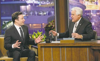 Jay Leno, right, will hand the reins of The Tonight Show over to Jimmy Fallon, left, after Thursday's night farewell show.