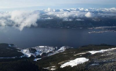 The Haisla First Nation's Kitimaat Village is seen in an aerial view along the Douglas Channel near Kitimat, B.C.