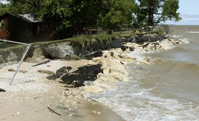 Erosion on the shoreline at Winnipeg Beach in 2009.