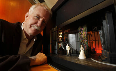 Broadway set designer John Lee Beatty with a model of the set he designed for the Manitoba Theatre Centre's play Gone With The Wind.