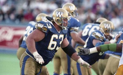 Chris Walby on the field with the Bombers on July 14, 1994.