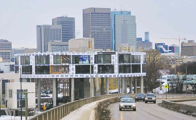 The 'flying saucer' under construction at the base of the Disraeli Freeway is among the many new developments making a mark on Winnipeg's skyline.