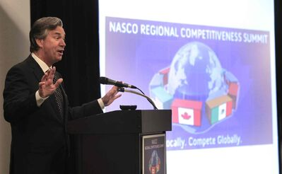 Gary Doer, Canadian ambassador to the U.S. addresses the NASCO (North American SuperCorridor Coalition) conference at the Hilton Winnipeg Airport Suites this morning.