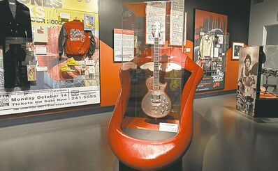 Rolling Stones memorabilia is displayed at the Rock and Roll Hall of Fame in Cleveland.