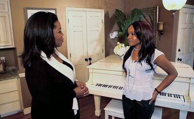 "In this undated image from video released by Harpo, Inc., host Oprah Winfrey, left, is shown with Bobbi Kristina, daughter of the late singer Whitney Houston during an interview in Atlanta, Ga. The exclusive interview will be shown on ""Oprah's Next Chapter,"" on the OWN network, Sunday, March 11, 2012 at 9:00 p.m. EST. (AP Photo/Harpo, Inc.)"