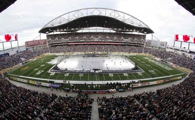 Picture this with a few more toques and a bit more snow... Investors Group Field should look a lot like this when the city hosts the NHL's Heritage Classic in 2016. Bombers CEO Wade Miller says seating can be expanded to 41,000.