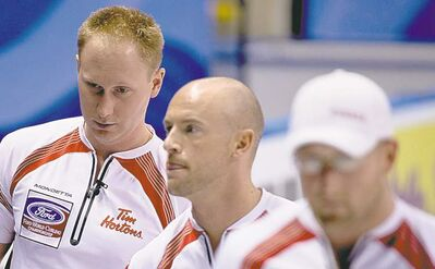 Jonathan Hayward / the canadian pressCanadian skip Brad Jacobs, third Ryan Fry and lead Ryan Harnden (from left) vow to learn from Tuesday�s loss to the Czech Republic�s Jiri Snitil. The Canadians struggled with draw weight and failed to capitalize on chances.