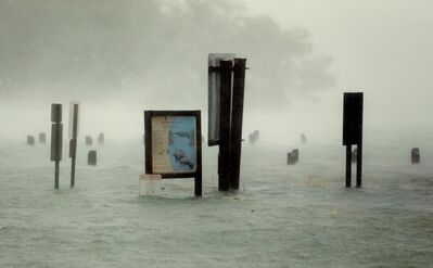 Flood waters rise around signs at the Haulover Marine Center at Haulover Park as Hurricane Irma passes by, Sunday, Sept. 10, 2017, in North Miami Beach, Fla. (AP Photo/Wilfredo Lee)