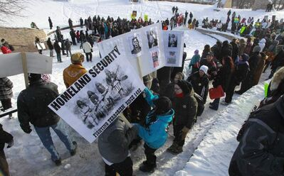Idle No More demonstrators gather in the Oodena Circle at The Forks as similar rallies for native rights went national Friday.