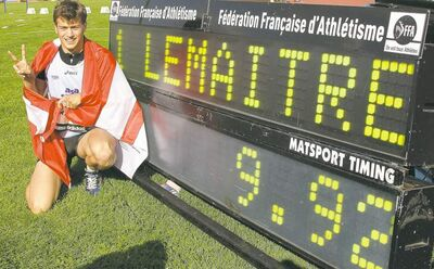 France's Christophe Lemaitre  first broke the 10-second barrier in the 100 metres in July, 2010, becoming the first white sprinter to do so.