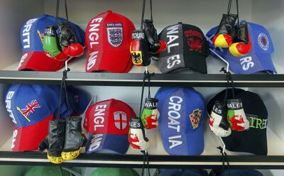 Soccer hats and mini boxing gloves are available for sports enthusiasts.</p>