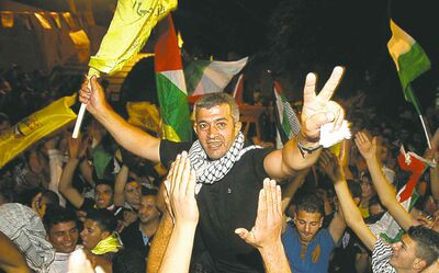 NASSER ISHTAYEH / THE ASSOCIATED PRESSIn August, Palestinians celebrate the release of Palestinian inmates on the eve of long-stalled Mideast peace talks.