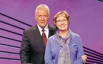 Winnipeg's Amanda Steadman with Jeopardy! host Alex Trebek. See her on the show Thursday at 4:30 p.m. on NBC.