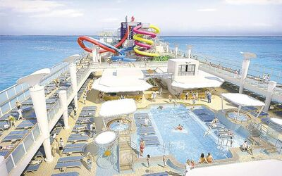 The new ship's water features.