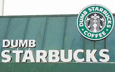 The Dumb Starbucks sign parodies the real thing.
