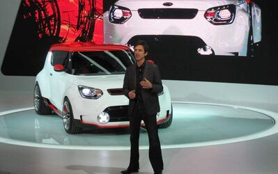 Tom Kearns, chief designer of Kia's Design Center America, introduces the Track'ster concept at this year's Chicago Auto Show.