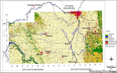 The Red River Valley in the mid-1990s: wetlands comprise less than 0.1% of land cover.