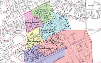 Represented here is the current catchment area for the six Louis Riel School Division English program schools in the south St. Vital area that are part of the current discussion. A decision will be made on Jan. 7, 2014.