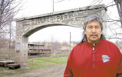 Dakota elder Gus Higheagle stands near the site of a historic massacre near Turtle Mountain about 200 years ago. Higheagle will lead participants on the Manitoba side during the Unity Ride.