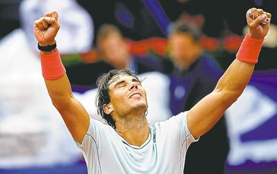Manu Fernandez / the associated pressRafael Nadal reacts after beating Nicolas Almagro in the final of the Barcelona Open in Spain Sunday.