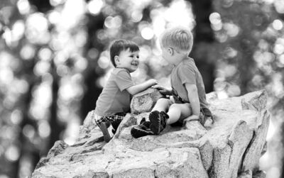 Two boys solidify a friendship in Kildonan Park last month.