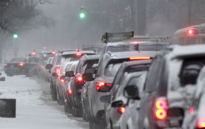 There was no rushing in the morning commute in Winnipeg like this traffic back up on Henderson Highway. this morning.